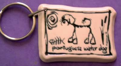 Portuguese Water Dog Cavern Canine Breed Stoneware Ceramic Clay Jewelry Key Chain McCartney - NEW