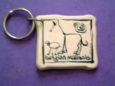 Belgian Malinois Cavern Canine Dog Breed Stoneware Ceramic Clay Jewelry Key Chain McCartney - NEW