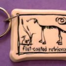 Flat Coated Retriever Cavern Canine Dog Breed Stoneware Ceramic Clay Key Chain McCartney - NEW
