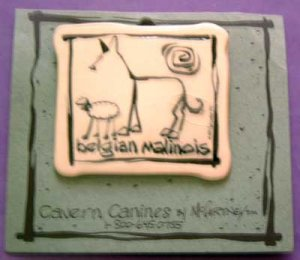 Belgian Malinois Cavern Canine Dog Breed Stoneware Ceramic Clay Jewelry Pin McCartney - NEW