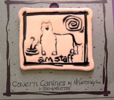 Am Staff Cavern Canine Dog Breed Stoneware Ceramic Clay Jewelry Pin McCartney - NEW