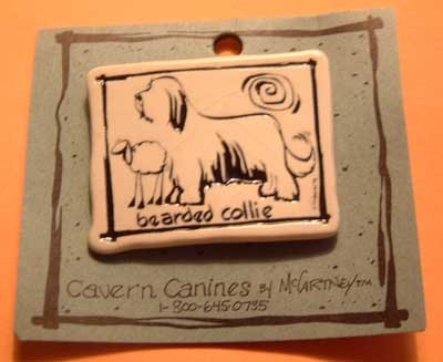 Bearded Collie Cavern Canine Dog Breed Stoneware Ceramic Clay Jewelry Pin McCartney - NEW