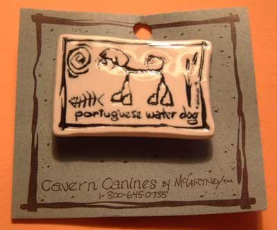 Portuguese Water Dog Cavern Canine Breed Stoneware Ceramic Clay Jewelry Pin McCartney - NEW