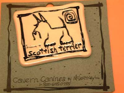 Scottish Terrier Cavern Canine Dog Breed Stoneware Ceramic Clay Jewelry Pin McCartney - NEW