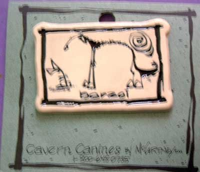 Borzoi Cavern Canine Dog Breed Stoneware Ceramic Clay Jewelry Pin McCartney - NEW