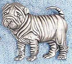 Shar Pei Dog Standing JJ Jonette Jewelry Lapel Pin