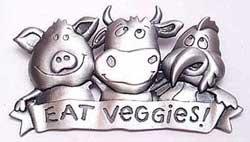 Eat Veggies! Vegitarian JJ Jonette Jewelry Lapel Pin