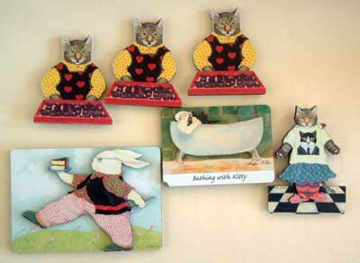 Cats & Bunny Rabbit : Magnets Lot of 6 : NEW