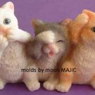NO EVIL CATS Cat Novelty Animal SILICONE Candle Soap Resin MOLD