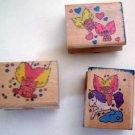 Rubber Stamp TROLLS Set of 3 Craft Mounted