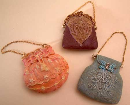 Resin Craft Miniature Purse Set of 3 Goldtone Chain