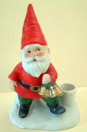 Holiday ELF Gnome Christmas Candle Holder Taper Vintage