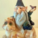 Cat Giving Gnome a Ride Fantasy New Resin Figurine