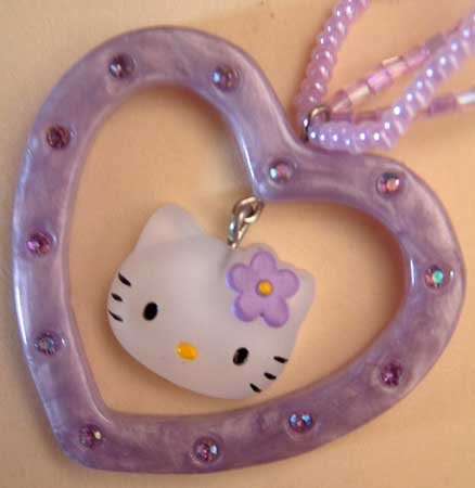 Hello Kitty Sanrio Lavender Heart Necklace NWT