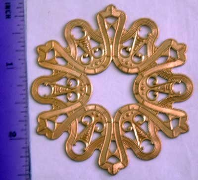 Decorative Round Base Raw Brass Jewelry Craft Altered Art Clay Mold Design