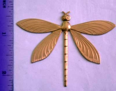 Dragonfly Flat Raw Brass Jewelry Craft Altered Art Clay Mold Design
