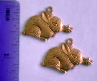 Bunny Flower Charms PR Raw Brass Jewelry Craft Altered Art Clay Mold Design