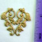 Heart Floral Raw Brass Jewelry Craft Altered Art Clay Mold Design