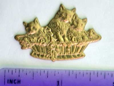 Cat Basket Raw Brass Jewelry Craft Altered Art Clay Mold Design