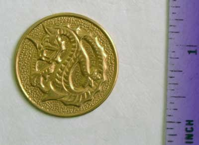 Dragon Coin Raw Brass Jewelry Craft Altered Art Clay Mold Design
