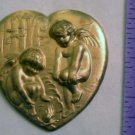 Cherub Heart Raw Brass Jewelry Craft Altered Art Clay Mold Design