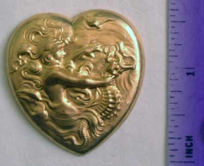 Seahorse Mermaid Heart Raw Brass Jewelry Craft Altered Art Clay Mold Design