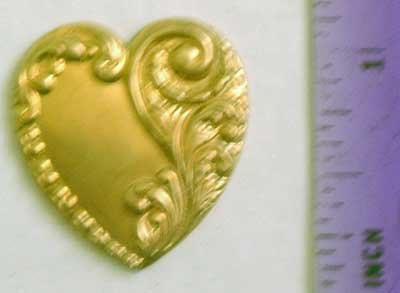 Heart Scrolled Raw Brass Jewelry Craft Altered Art Clay Mold Design