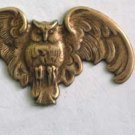 Gothic Owl Raw Brass Jewelry Craft Altered Art Clay Mold Design