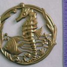 Seahorse Fish Rare Round Raw Brass Jewelry Craft Altered Art Clay Mold Design