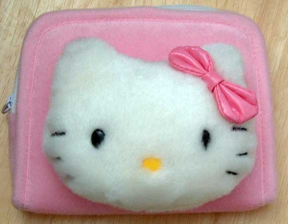 Hello Kitty Plush Coin Make-Up Clutch NEW 4X5