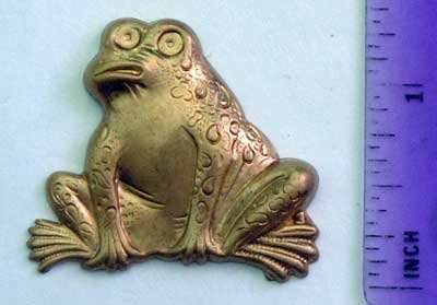 Frog Whimsey Raw Brass Jewelry Craft Altered Art Clay Mold Design