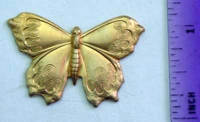 Butterfly Moth #1 Raw Brass Jewelry Craft Altered Art Clay Mold Design