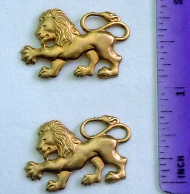 Lion Gothic Pr/2 Raw Brass Jewelry Craft Altered Art Clay Mold Design