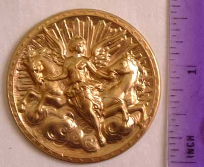 Angel & Horses Raw Brass Jewelry Craft Altered Art Clay Mold Design
