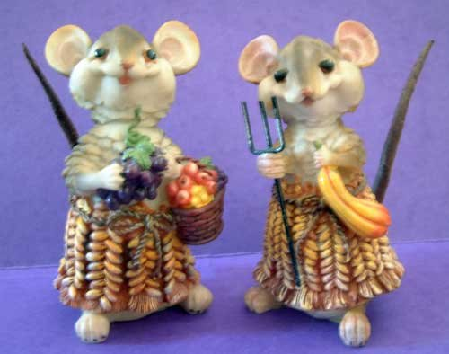 Fall Mice Corn Cob Resin Mouse Design NWT Set #1