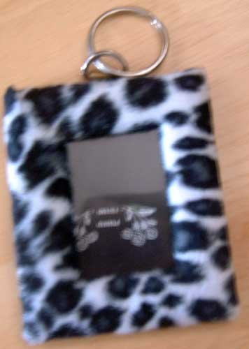 Photo Key Chain Animal Print Spotted Black White Faux Fur