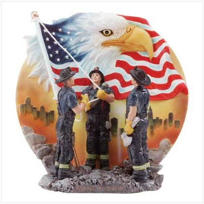 Firemen Raising Flag Eagle Plate