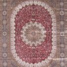 10'x14'Red Floral Hand Knotted Silk Kashan Area Rug/Carpet
