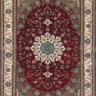 6'x9' Red Floral Hand Knotted Oriental Silk Area Rug/Carpet