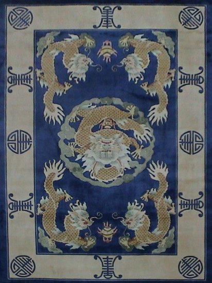 4 X6 Blue Hand Knotted Chinese Dragon Silk Area Rug Carpet 64