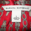 Banana Republic Silk Red Chain Blouse Shirt Top L Large