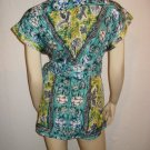 $290 Nanette Lepore Blue Green Silk Top Shirt 8 M Med