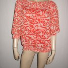 Vertigo Paris Orange Bold Print Flowy Shirt Top M Med
