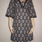 Ann Taylor Geometric Black White Dress Cotton Linen 4 S