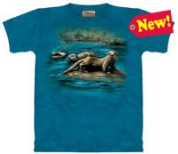 European River Otters T-Shirt by The Mountain M,L,XL