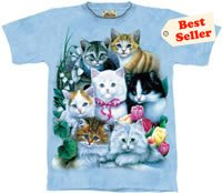 Kitties & Flowers Kitten T-Shirt by The Mountain M L XL