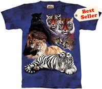 Big Cat Collage Tiger & Lion T-Shirt by The Mountain M L XL