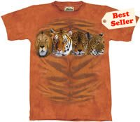 Four Cat Portrait  Tiger Lion Cheetah T-Shirt by The Mountain M L XL