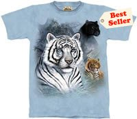 Three Cats White Tiger Panther T-Shirt by The Mountain 2XL 3XL