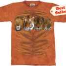 Four Cat Portrait Lion Tiger Jaguar T-Shirt by The Mountain 2XL 3XL